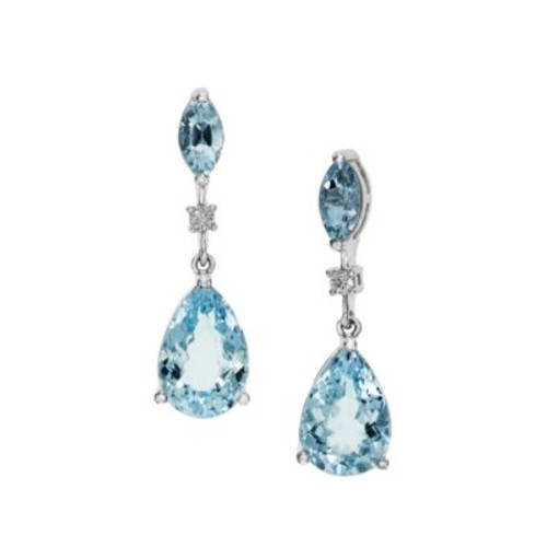 Diamond and Aquamarine Earrings