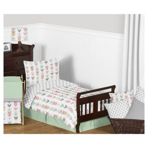 Coral & Mint Mod Arrow Bedding Set (Toddler) - Sweet Jojo Designs