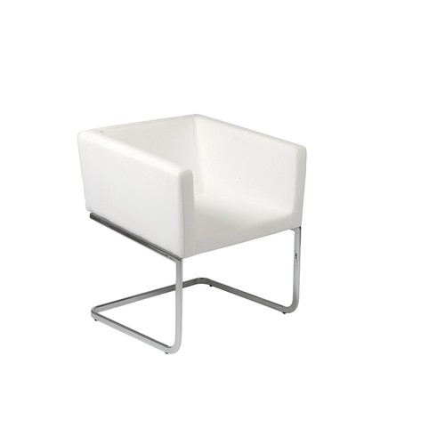 Euro Style Ari Modern Soft Leatherette Lounge Chair with Chromed Steel Base, White [white]