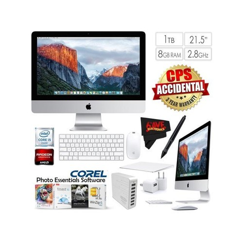 Apple iMac MK442LL/A 21.5-Inch Desktop 2.8GHz 8GB RAM 1TB HDD + 7 Port USB Hub + Travel USB 5V Wall Charger for iPhone/iPad (White) + MicroFiber Cloth Bundle