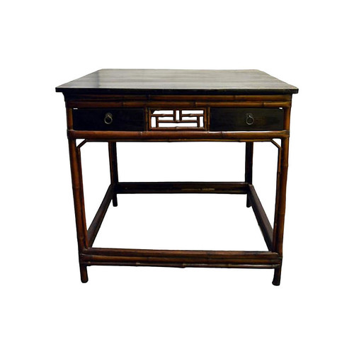 Antique Black Lacquered Bamboo Table