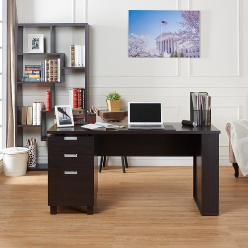 Furniture of America Payton Espresso Desk with Built-in File Cabinet