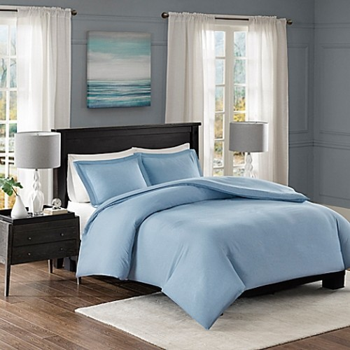Madison Park Clay Twin Duvet Cover Set in Blue