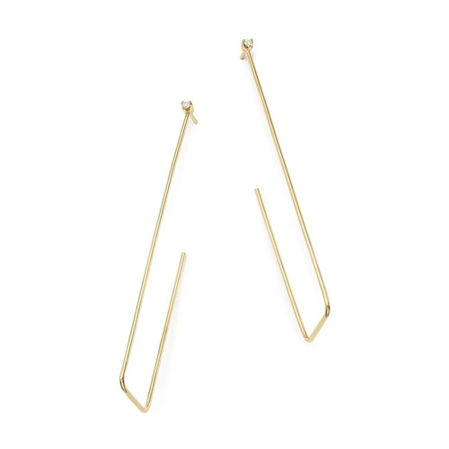 14K Yellow Gold Rectangle Hoop Earrings with Diamond Studs