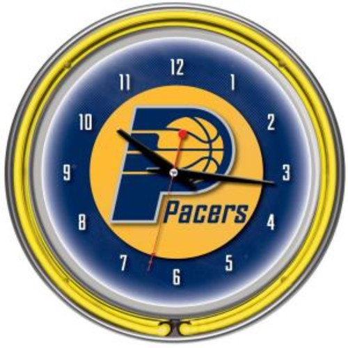Trademark 14 in. Indiana Pacers NBA Chrome Double Ring Neon Wall Clock