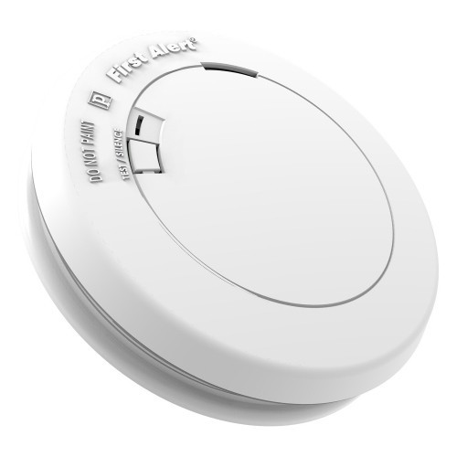 First Alert - Slim Design Photoelectric Smoke Sensor with Alarm - White