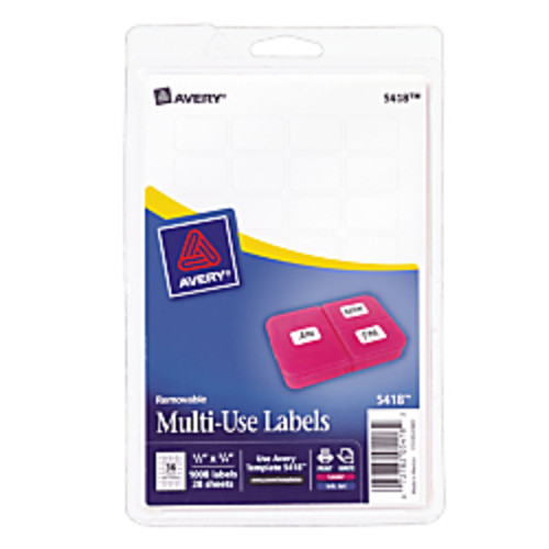 Avery Removable Inkjet/Laser Multi-Use ID Labels, 1/2