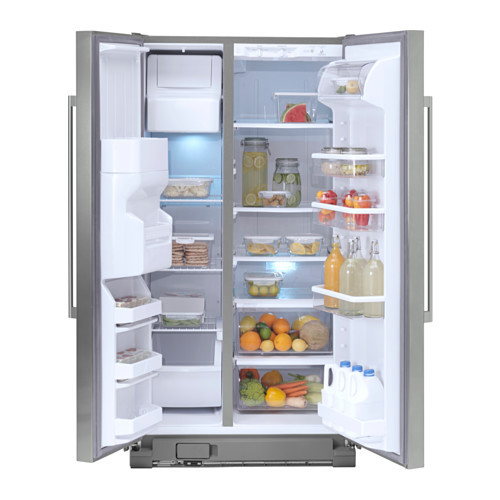 NUTID S25 Side-by-side refrigerator, Stainless steel