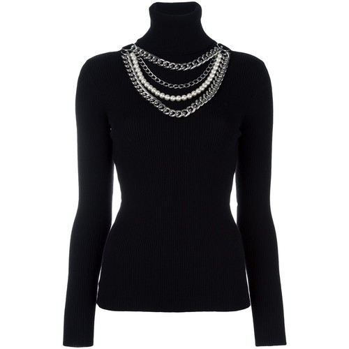 MOSCHINO Pearl And Chain Embellished Jumper