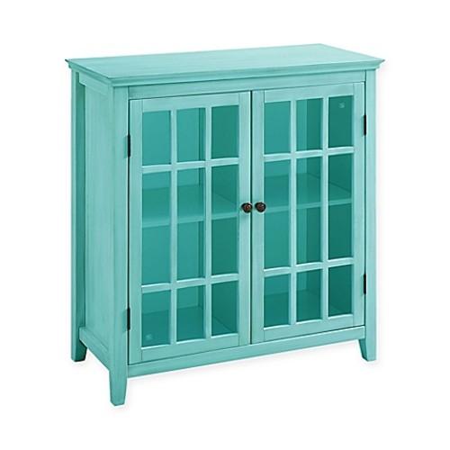 Largo Antique Double Door Cabinet in Turquoise