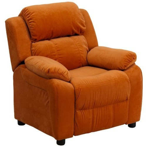 Flash Furniture Deluxe Padded Contemporary Orange Microfiber Kids Recliner with Storage Arms [Orange Microfiber]