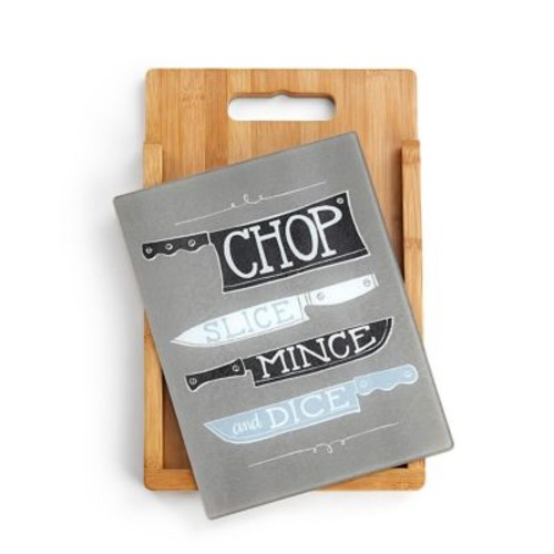 DEMDACO 2 Piece Bamboo/Glass Chop Cutting Board Set