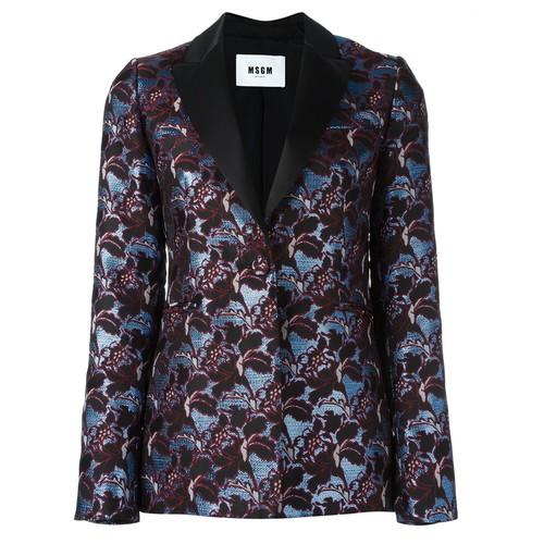 MSGM Shimmer Effect Floral Print Dinner Jacket