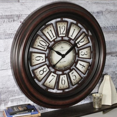 FirsTime 29 in. Round Majestic Hollow Wall Clock