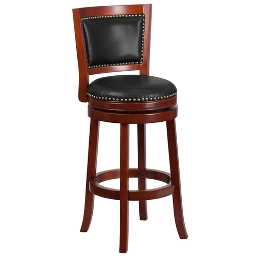 30-inch High Wood Barstool with Leather Swivel Seat