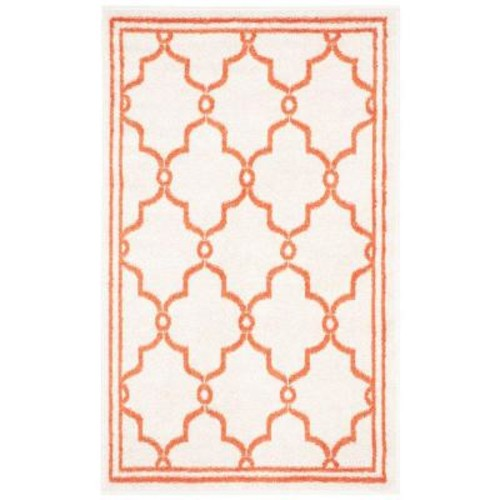 Safavieh Amherst Beige/Orange 3 ft. x 5 ft. Indoor/Outdoor Area Rug