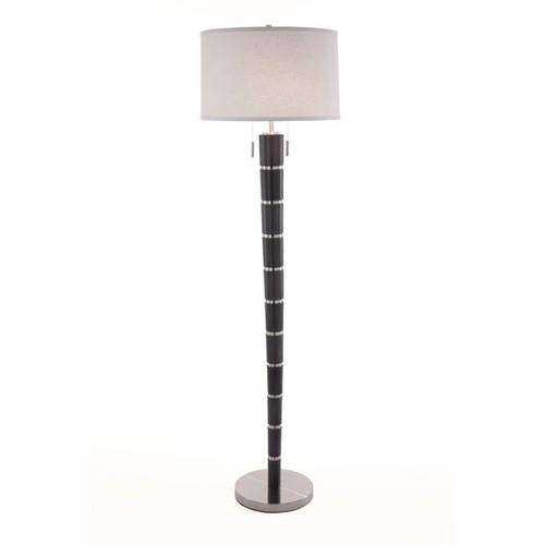Nova Lighting Konico Charcoal Grey Wood Steel Floor Lamp