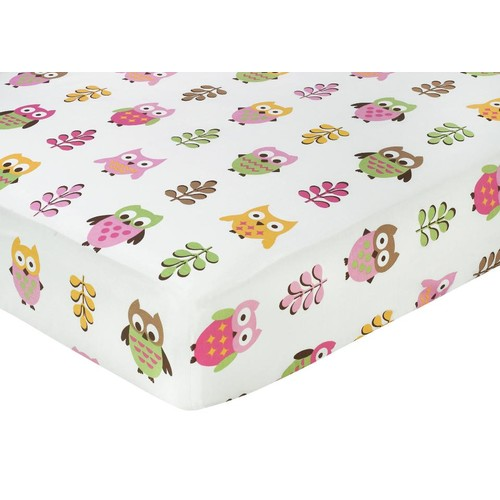 Sweet Jojo Designs Owl Pink Collection Fitted Crib Sheet