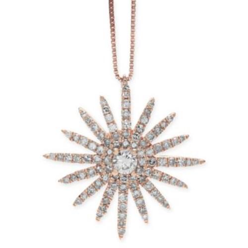 14K Rose Gold .60 cttw Diamond 18-Inch Chain Starburst Pendant Necklace