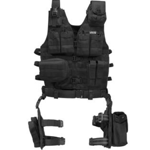 Barska Loaded Gear VX-100 Tactical Vest and Leg Platform-Blk BI12016