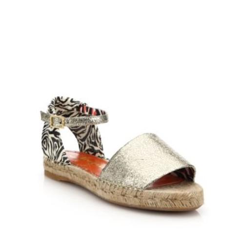 Cracked Metallic Leather Espadrille Sandals