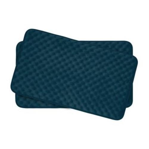 BounceComfort Massage Dusty Blue 17 in. x 24 in. Memory Foam 2-Piece Bath Mat Set