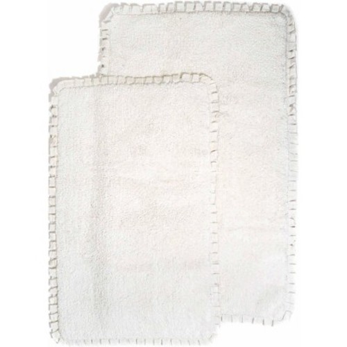 Chesapeake Merchandising Verona Pleat Trim Ivory 2 ft. x 3 ft. 4 in. 2-Piece Bath Rug Set