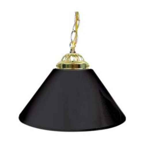 Trademark 14 in. Single Shade Black and Brass Hanging Lamp
