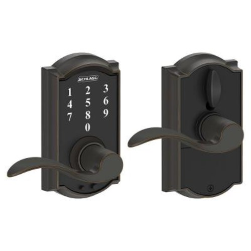 Schlage Touch Keyless Touchscreen Camelot Trim Aged Bronze Lock with Accent Lever