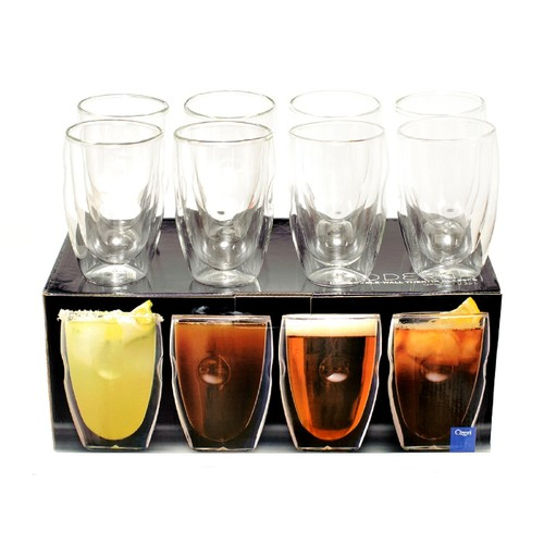 Ozeri Moderna Artisan Series Double Wall 12 oz Beverage Glasses by - Set of 8 Drinking Glasses