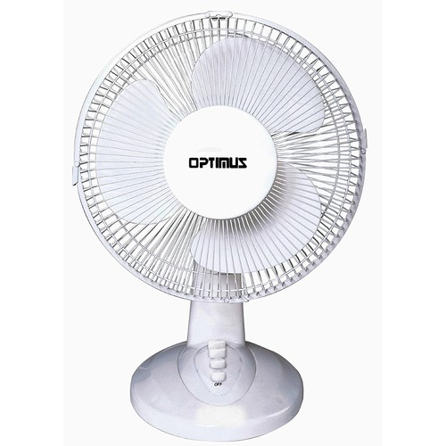Optimus F-1230 12-Inch Oscillating 3-Speed Table Fan, White