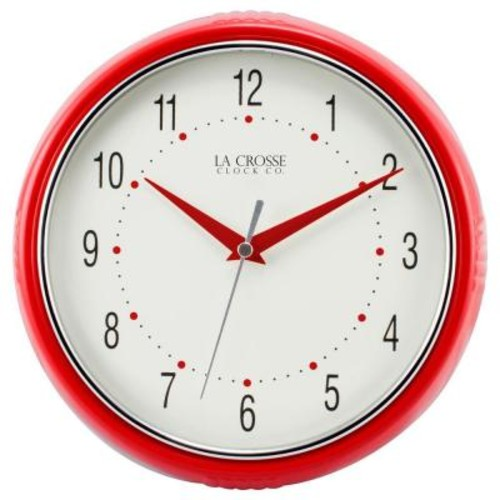 La Crosse Technology 9.5 in. H Round Red Retro Diner Analog Wall Clock