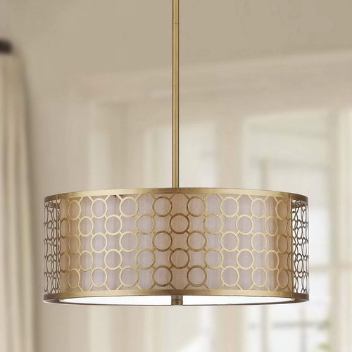 Safavieh Indoor 3-light Giotta Gold Drum Pendant