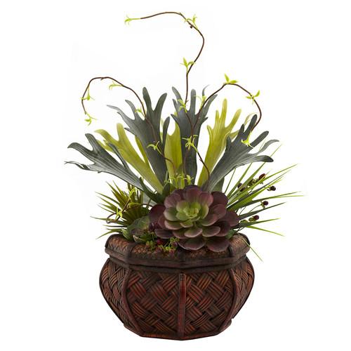 Nearly Natural Succulent Garden w/Decorative Planter Silk Plant
