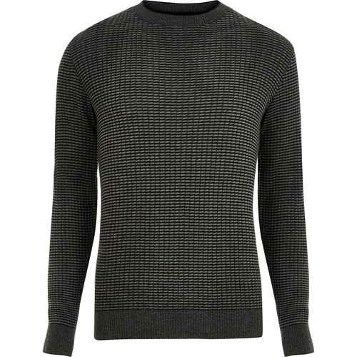 Dark grey ribbed knitted slim fit sweater