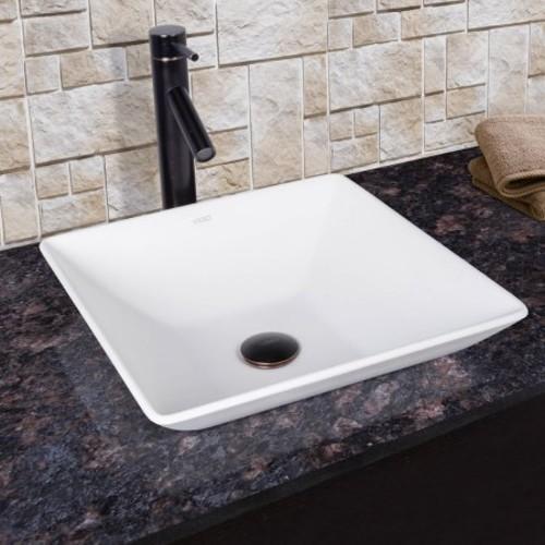 VIGO Matira Matte Stone Vessel Sink and Dior Bathroom Vessel Faucet in Antique Rubbed Bronze w/ Pop up