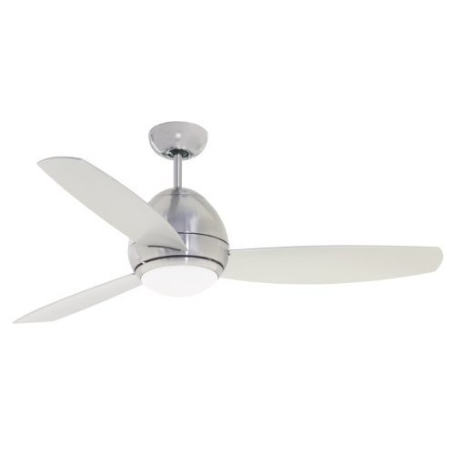 Emerson Ceiling Fans CF244BS, Curva, Modern Indoor Ceiling Fan With Light And Remote, 44-Inch Blades, Brushed Steel Finish [Stainless Steel, 44-Inch]