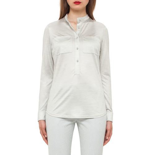 AKRIS Silk Jersey Pocket Blouse, Iceman