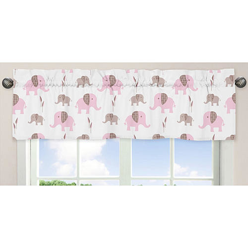 Sweet Jojo Designs Pink and Taupe Mod Elephant Collection Window Valance - 54