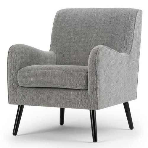 Simpli Home Dysart Grey Tweed Fabric Club Arm Chair