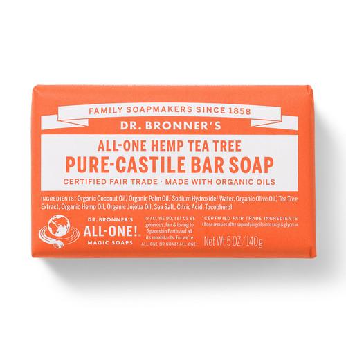 Dr. Bronner's Magic Soaps All-One Hemp Tea Tree Pure-Castile Bar Soap
