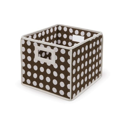 Folding Nursery Basket/Storage Cube - Brown Polka Dot