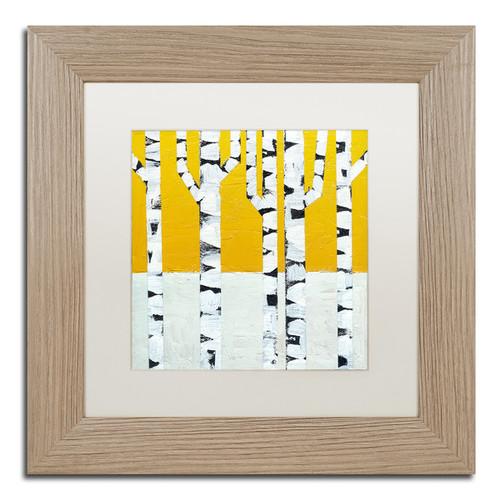 Michelle Calkins 'Seasonal Birches - Winter' Matted Framed Art [option : 11x11]