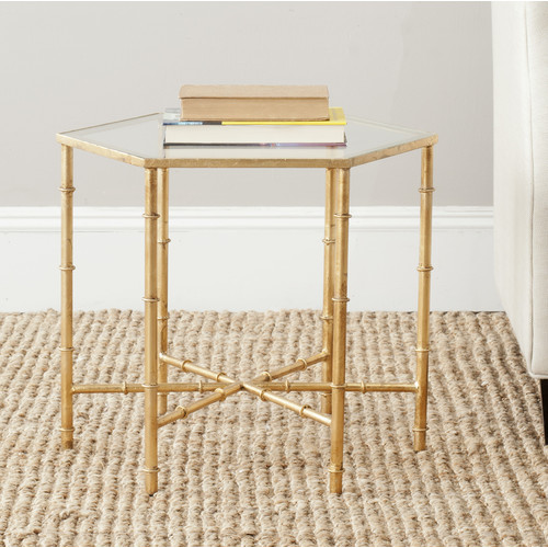 Safavieh Kerri Gold Leaf Mirror Top Accent Table