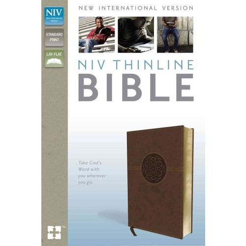 Holy Bible: New International Version, Brown, Thinline, Imitation Leather, Red Letter Edition, With Ribbon Marker (Paperback)