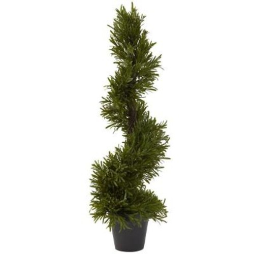 Nearly Natural 30 in. Indoor/Outdoor Rosemary Spiral Tree