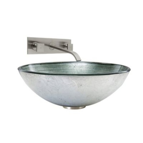 Vigo Simply Silver Vessel Sink and Titus Faucet Set in Brushed Nickel