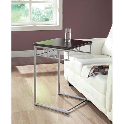 Monarch Coffee, Console, Sofa & End Tables Cappuccino/ Silver Metal Snack Table