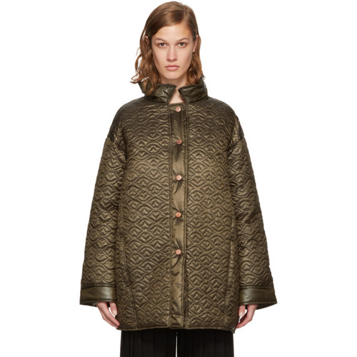 SEE BY CHLOÉ Green Short Quilted Bisou Coat