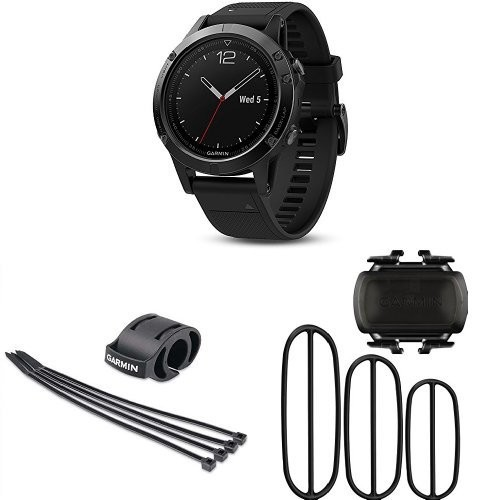 Garmin Fenix 5 Sapphire with Forerunner Bicycle Mount Kit and Bike Cadence Sensor [Black Band, Sapphire Glass, 47 MM, Complete Biking Bundle]